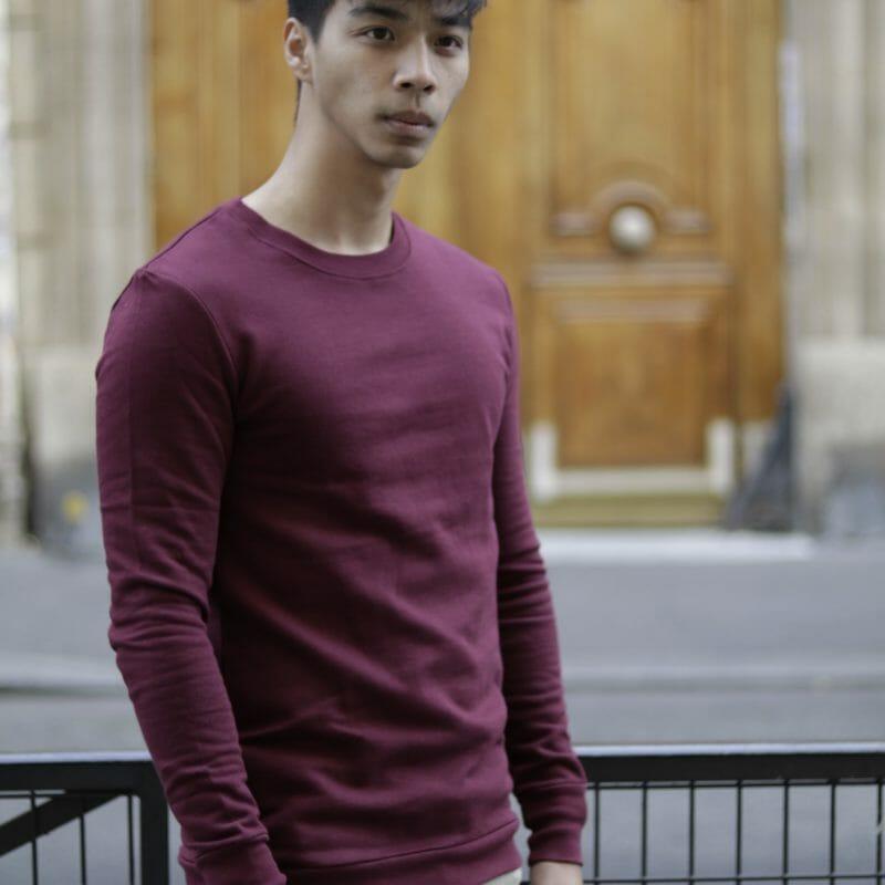 Sweat Homme col rond Bordeaux en coton Bio