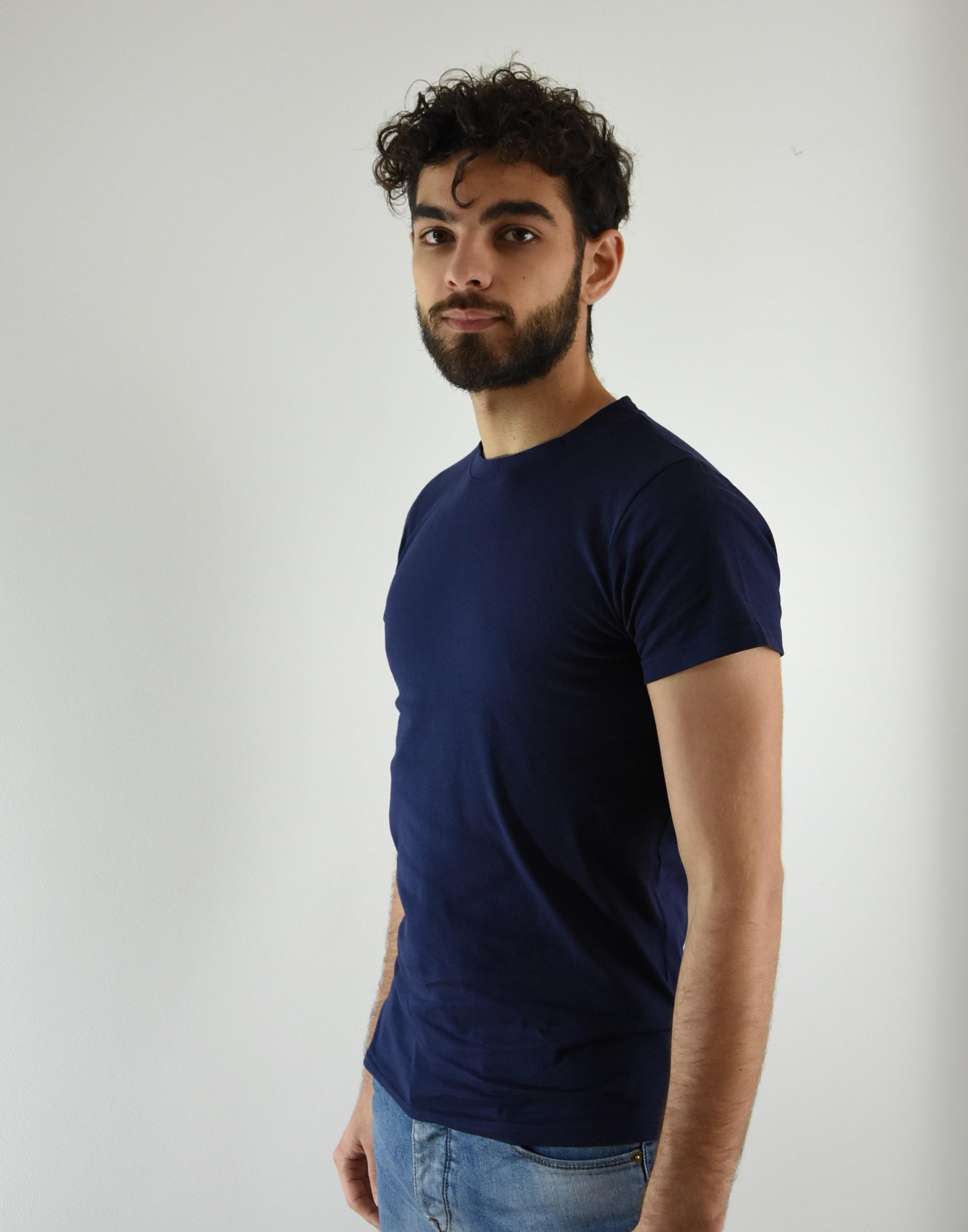 Rond Coton Tee En Homme Bio Bleu Col Shirt Marine FTclK1J