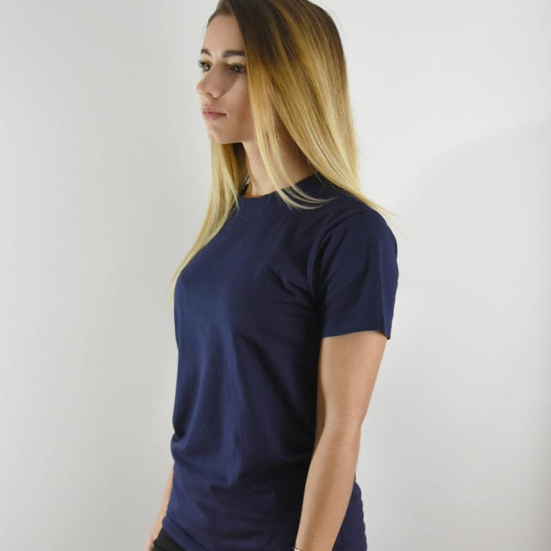 Tee-shirt Femme Bleu Marine Col rond en coton bio