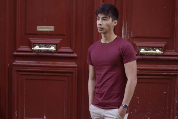 Tee-shirt Homme Bordeaux Col rond en coton bio