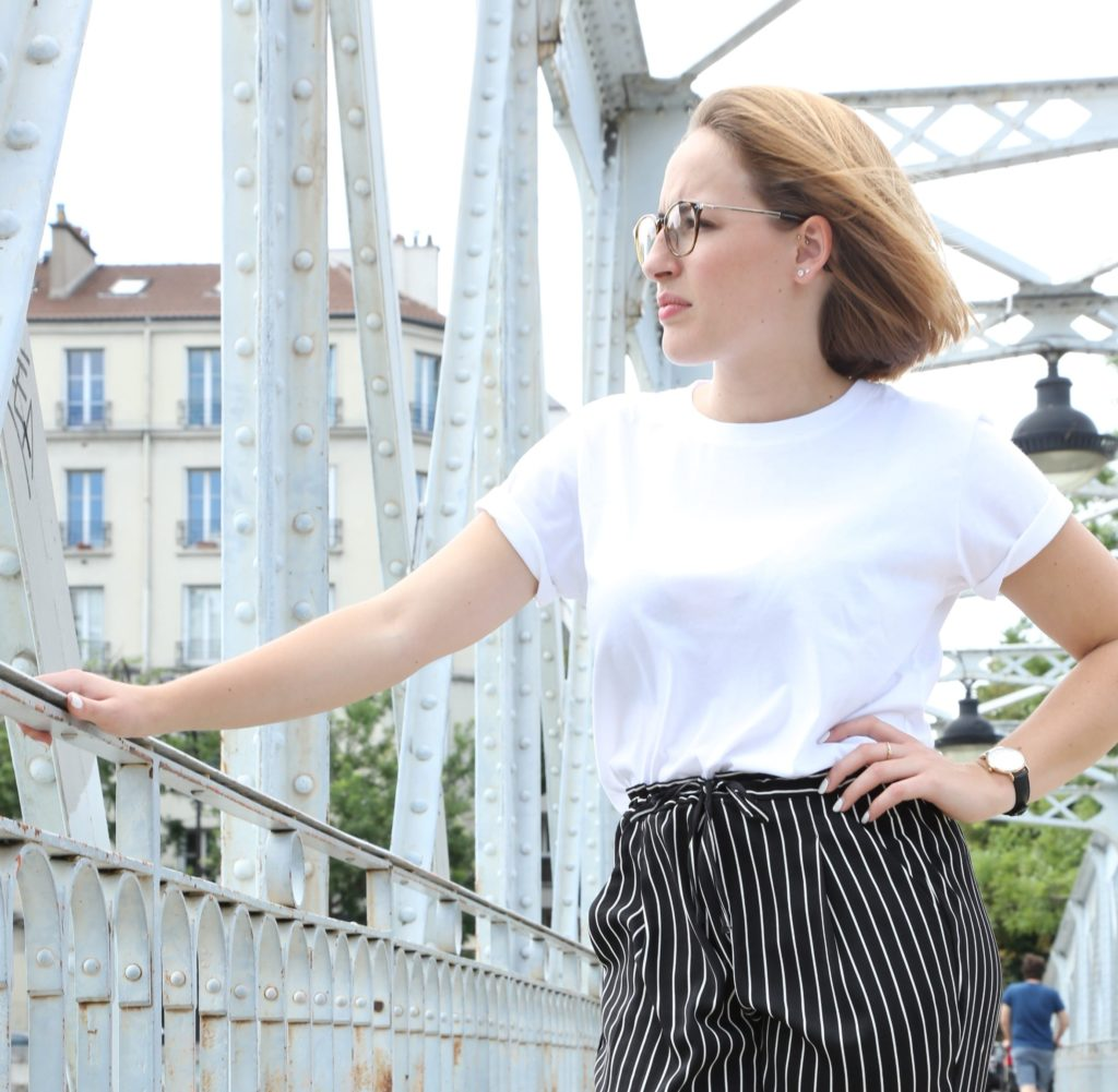 Tee-shirt Femme Blanc Col rond en coton bio