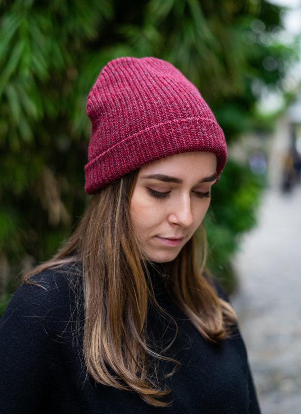 Bonnet en coton bio Rouge et Gris
