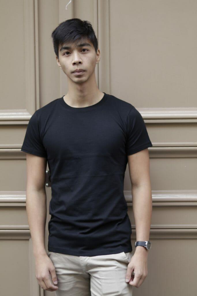 Tee-shirt Homme Noir Col rond en coton bio