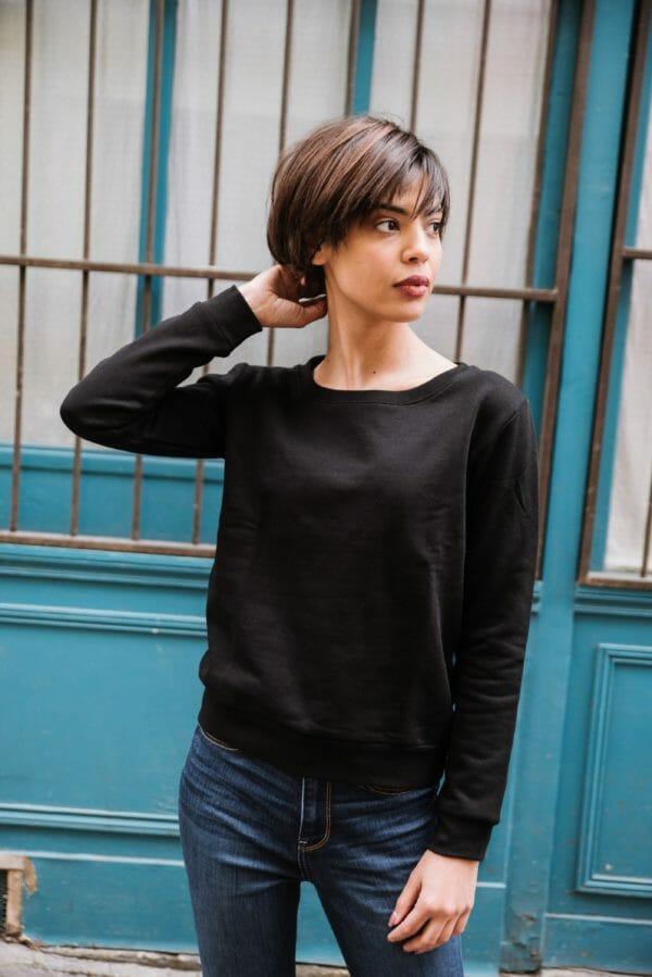 sweat Femme col Échancré Noir en coton Bio